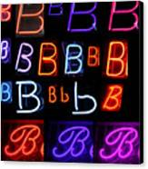 Neon Sign Series Featuring The Letter B  Canvas Print