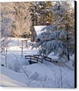 New England House And Forest In The Snow Canvas Print