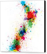 New Zealand Paint Splashes Map Canvas Print by Michael Tompsett