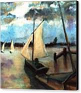 Newport Moonlight Sail Canvas Print