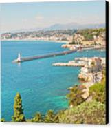 Nice Coastline And Harbour, France Canvas Print by John Harper