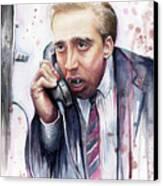 Nicolas Cage A Vampire's Kiss Watercolor Art Canvas Print by Olga Shvartsur