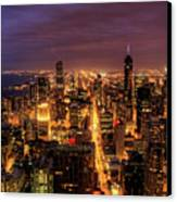 Night Cityscape Of Chicago Canvas Print by Jacob D. Moore