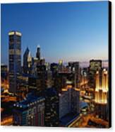 Night Falls On Chicago - D001087 Canvas Print by Daniel Dempster