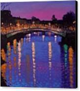 Nighttown Ha Penny Bridge Dublin Canvas Print by John  Nolan