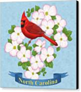 North Carolina State Bird And Flower Canvas Print by Crista Forest