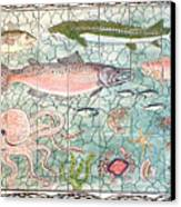 Northwest Fish Mural Canvas Print by Dy Witt