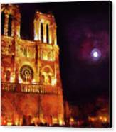 Notre Dame In The Autumn Moonlight Canvas Print