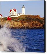 Nubble Lighthouse In Daylight Canvas Print by Jeremy Woodhouse