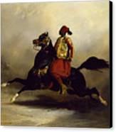 Nubian Horseman At The Gallop Canvas Print by Alfred Dedreux or de Dreux