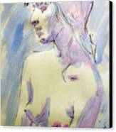 Nude Portrait Drawing Sketch Of Young Nude Woman Feeling Sensual Sexy And Lonely Watercolor Acrylic Canvas Print