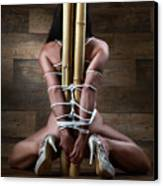 Nude, Tied To A Bamboo Tube - Fine Art Of Bondage Canvas Print
