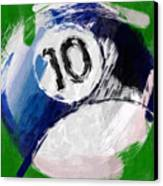 Number Ten Billiards Ball Abstract Canvas Print by David G Paul