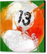 Number Thirteen Billiards Ball Abstract Canvas Print by David G Paul