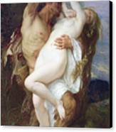 Nymph Abducted By A Faun Canvas Print
