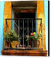 Ochre Window In Turqoise Canvas Print by Mexicolors Art Photography