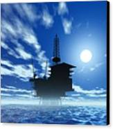 Oil Rig, Artwork Canvas Print by Victor Habbick Visions
