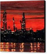 Oil Rigs Night Construction Portland Harbor Canvas Print by Dominic White