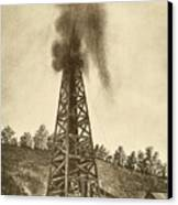 Oil Well With A Gusher In The Oil Canvas Print