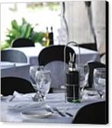 Oils And Glass At Dinner Canvas Print