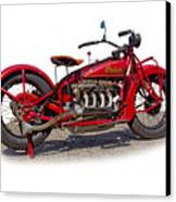 Old 1930's Indian Motorcycle Canvas Print by Mamie Thornbrue