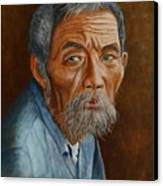 Old Asian Worker Canvas Print
