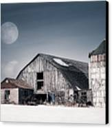 Old Barn And Winter Moon - Snowy Rustic Landscape Canvas Print