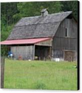 Old Barn With Red Leanto  Washington State Canvas Print