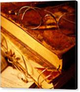 Old Books And Glasses Canvas Print by Garry Gay