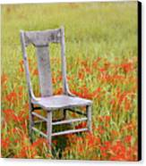 Old Chair In Wildflowers Canvas Print by Jill Battaglia