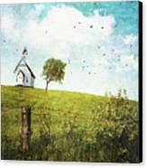Old Country School House  On A Hill  Canvas Print by Sandra Cunningham