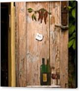 Old Door And Wine Canvas Print