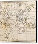 Old Hand Drawn Vintage World Map Canvas Print by Richard Thomas