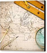 Old Map And Navigational Objects. Canvas Print by Richard Thomas