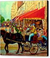 Old Montreal Restaurants Canvas Print by Carole Spandau