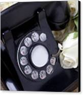 Old Phone And White Roses Canvas Print by Garry Gay