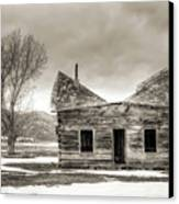 Old Rustic Log Cabin In The Snow Canvas Print by Dustin K Ryan
