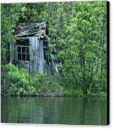 Old Shed On The Lake Canvas Print by Marjorie Imbeau