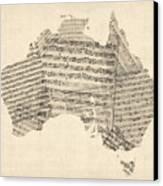 Old Sheet Music Map Of Australia Map Canvas Print by Michael Tompsett