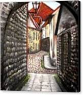 Old Town Oil Paining Canvas Print
