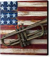 Old Trumpet On American Flag Canvas Print