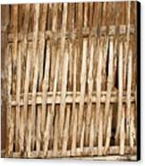 Old Wall Made From Bamboo Slats Canvas Print