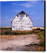 Old White Barn Canvas Print by Kathy Yates