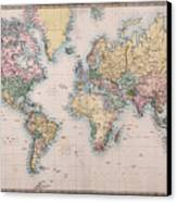 Old World Map On Mercators Projection Canvas Print