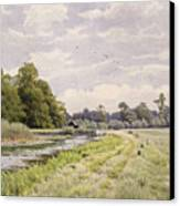 On The River Ouse Hemingford Grey Canvas Print by William Fraser Garden