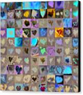 One Hundred And One Hearts Canvas Print by Boy Sees Hearts