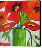 Orange Flowers In Lime Green Vase Canvas Print