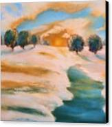 Oranges In The Snow-landscape Painting By V.kelly Canvas Print by Valerie Anne Kelly