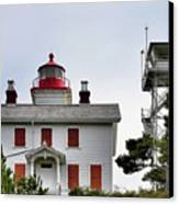 Oregon's Seacoast Lighthouses - Yaquina Bay Lighthouse - Old And New Canvas Print by Christine Till