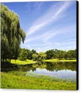 Otsiningo Park Reflection Landscape Canvas Print by Christina Rollo